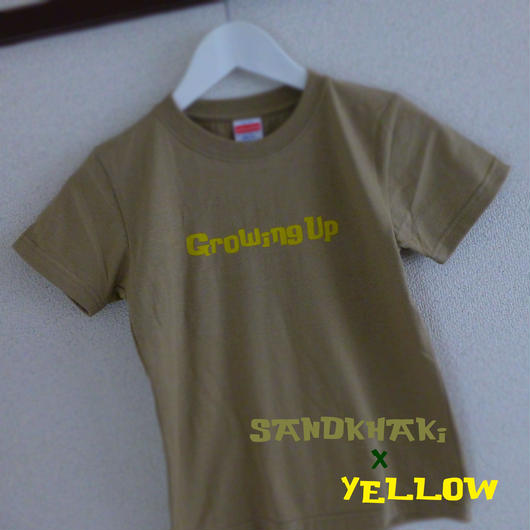 KiDS T SHiRT 130cm - Growing Up - #SANDKHAKi x YELLOW