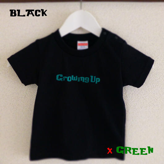 KiDS T SHiRT 90cm - Growing Up - #BLACK x GREEN