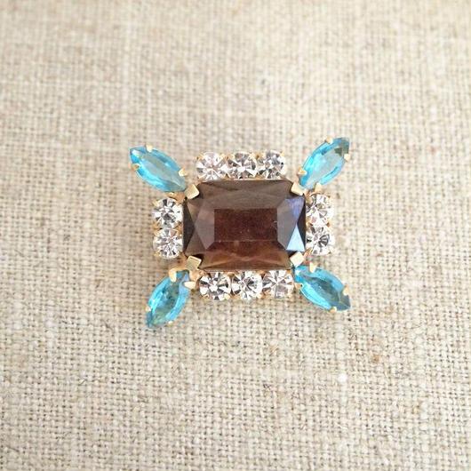 bijou brooch brown x aquamarine