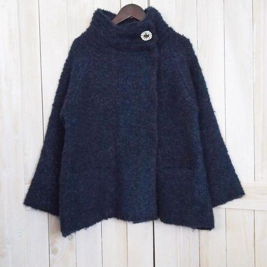 【SALE】mohair loop off turtle Jacket navy