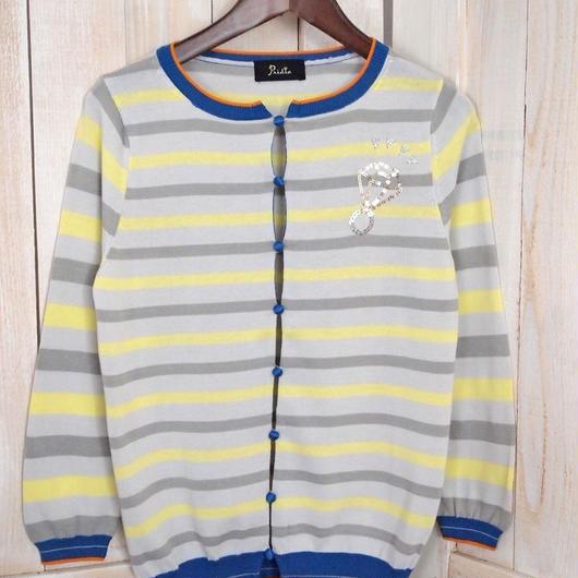 multiborder Cardigan  yellow x grey