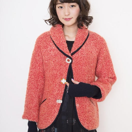 【SALE】mohair loop shawl Jacket orange pink