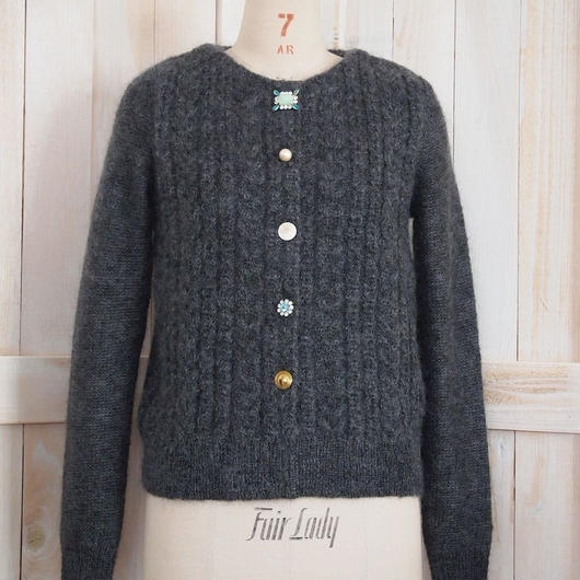 cable bijoux Cardigan charcoal