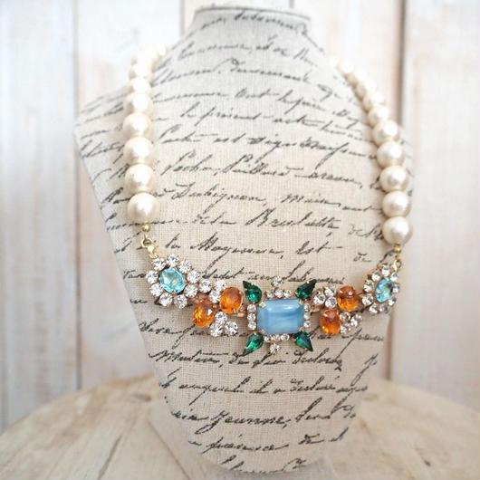 cotton pearl bijoux necklace 032①