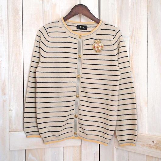 cashmere marine Cardigan beige x navy