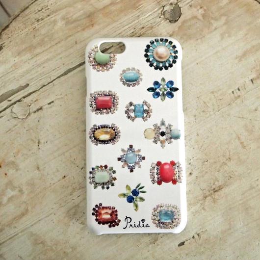【メール便OK】bijoux print iPhone cover 6 white