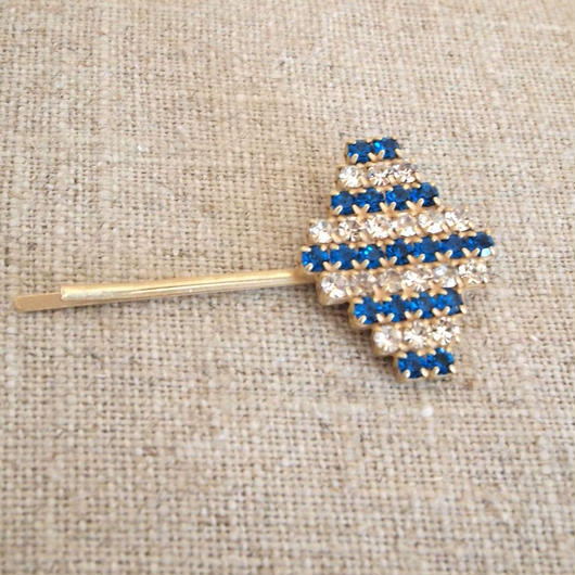 bijou hair Pin blue x clear stripe