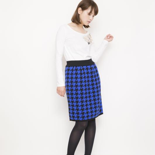 【SALE】hound`s tooh Skirt blue x black