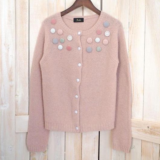macaron button Cardigan pink