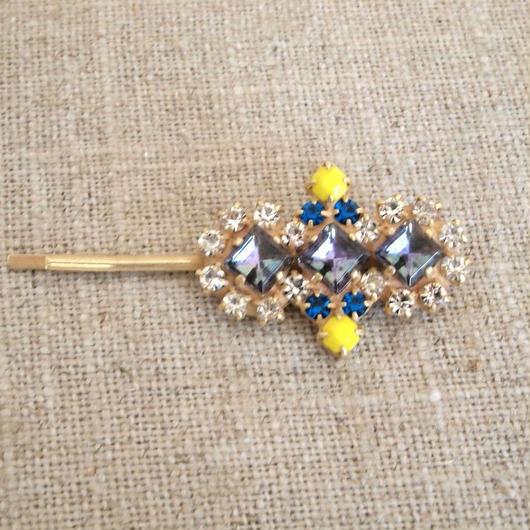 bijou hair Pin blue x yellow