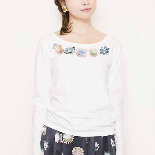 bijoux print long Tshirts white