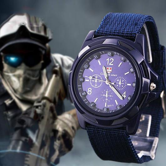 ミリタリー 腕時計 大人気 ナイロンベルト 送料無料
