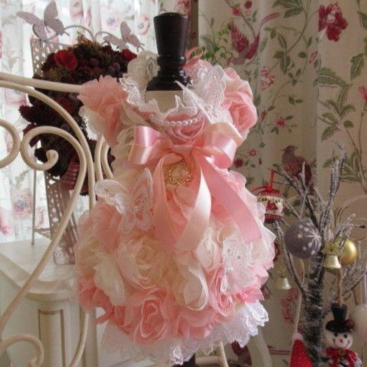 ふわふわ薔薇と蝶のドレスワンピ^^