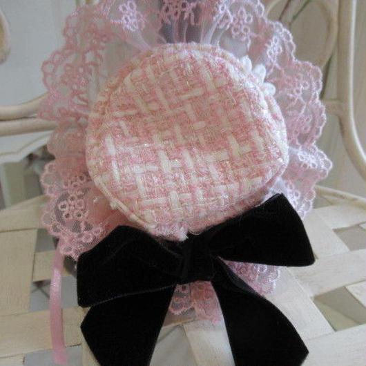 ピンクホワイトツイードワンピのオプションお帽子