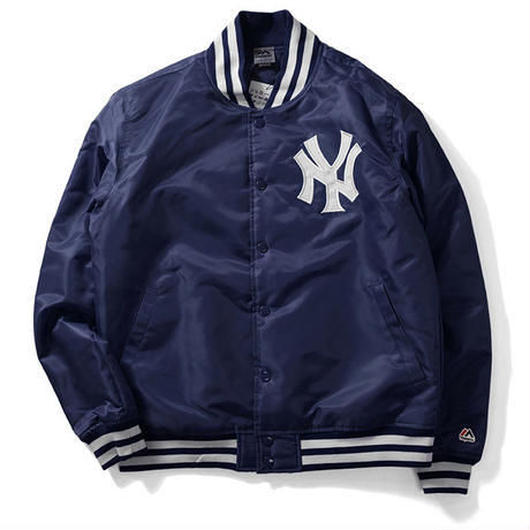 Majestic NY YANKEES satin jacket ネイビー XXL