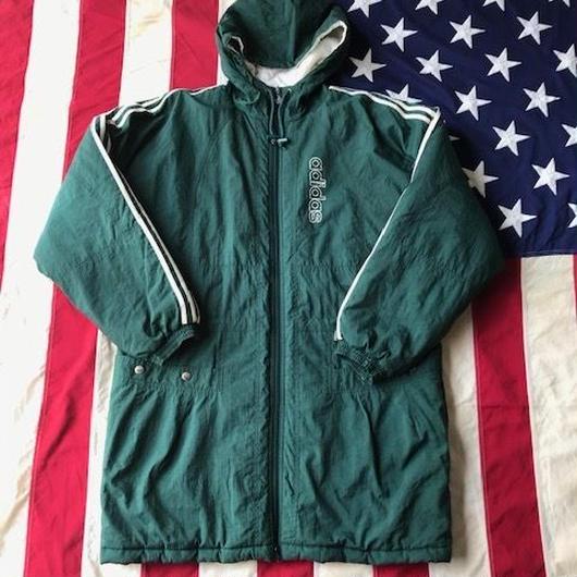 【USED】90s adidas bench coat グリーン M