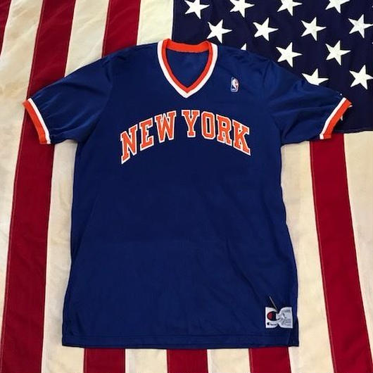 【USED】CHAMPION NY KNICKS jersey ブルー×オレンジ XL