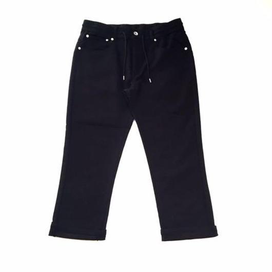 【SALE】NO BRAND 3/4 stretch pants ブラック
