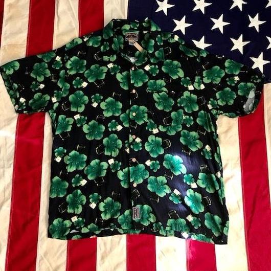 【USED】NAUTICA ALOHA shirt ネイビー×グリーン XL