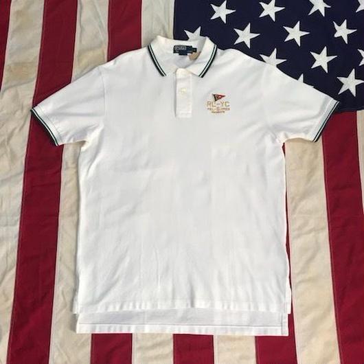 【USED】POLO RALPH LAUREN FLAG polo shirt ホワイト L