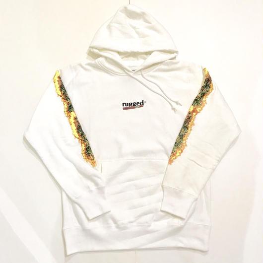 RUGGED BLUNT FIRE sweat hoodie ホワイト L