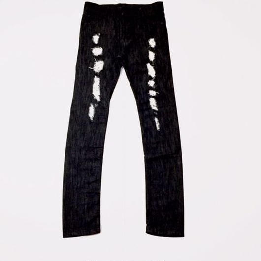 【SALE】PUZZLE SKINNY damege denim ブラック