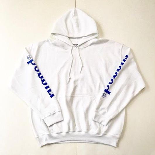 【ラス1】RUGGED rugged®︎ sleeve logo sweat hoodie ホワイト ×ブルー XL