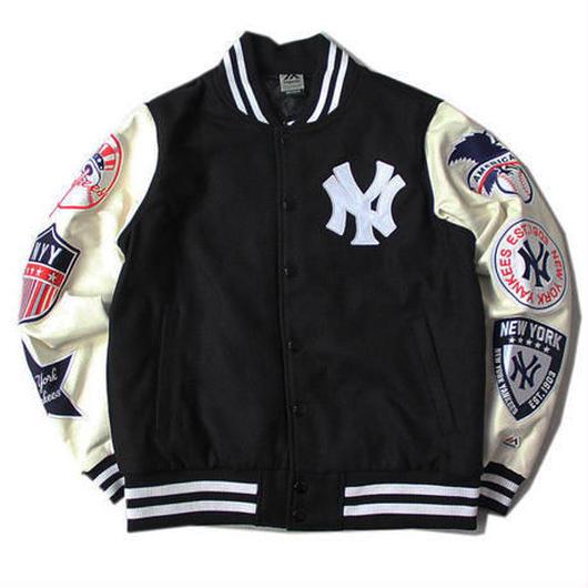 Majestic NY YANKEES WAPPEN STADIUM jacket ブラック×ホワイト XXL