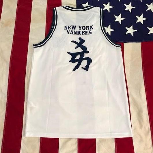 【USED】MLB NY YANKEES 漢字 jersey ホワイト×ネイビー LL