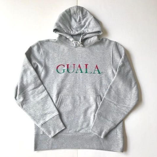 GUALA Two‐tone Logo sweat hoodie レッド×グリーン M
