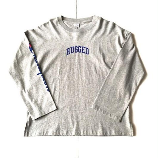 RUGGED on Champion ARCH LOGO sleeve logo L/S tee グレー