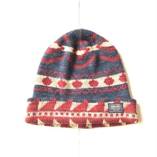DENIM&SUPPLY NATIVE knit cap ネイビー×レッド