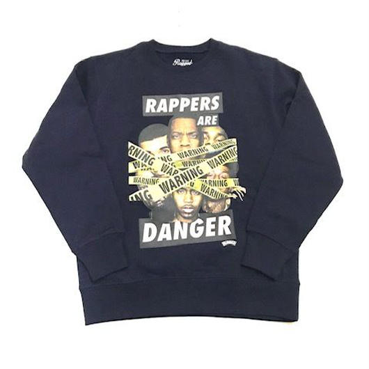 RUGGED RAPPERS ARE DANGER super heavy weight sweat ネイビー L