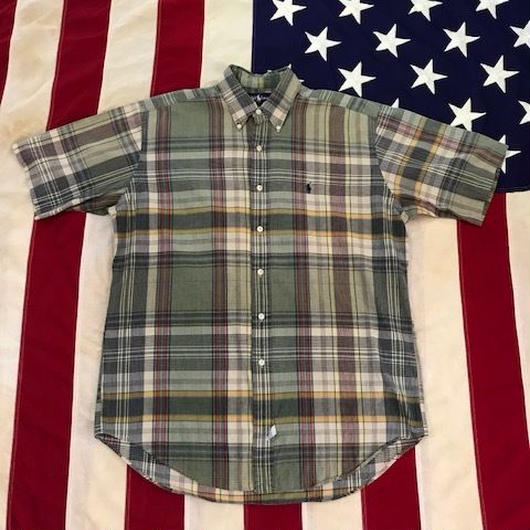 【USED】POLO RALPH LAUREN PLAID shirt ベージュ M