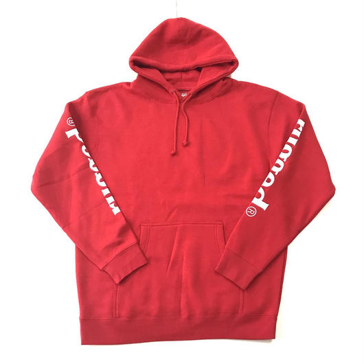 RUGGED rugged®︎ sleeve logo sweat hoodie レッド×ホワイト L