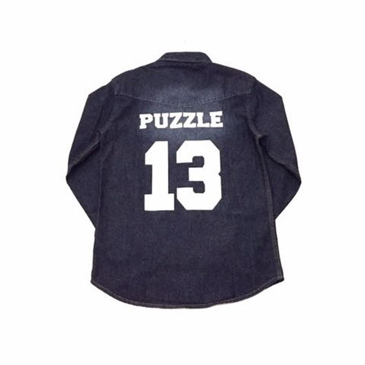 【SALE】PUZZLE DENIM western shirt ワンウォッシュ M