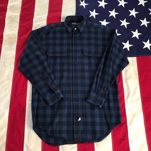 【USED】POLO RALPH LAUREN Block Check work shirt ブルー×ブラック S