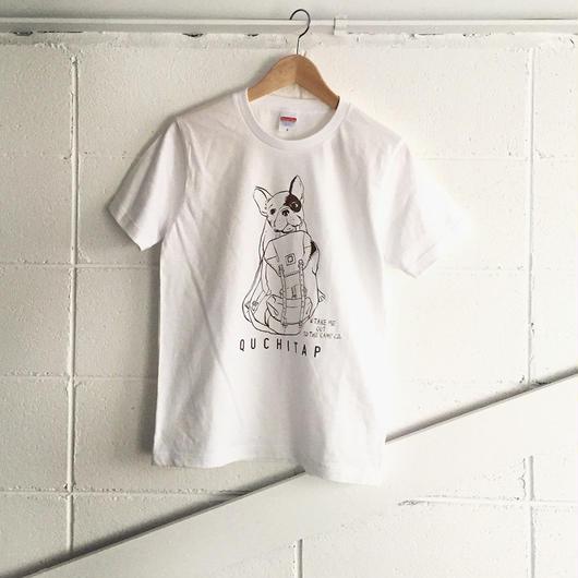 オリジナルTシャツ 「ワタシモキャンプニツレッテッTee」ホワイト×ダークブラウン