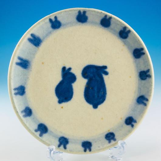 【S020】豆皿(呉須手描き・うさぎ印)