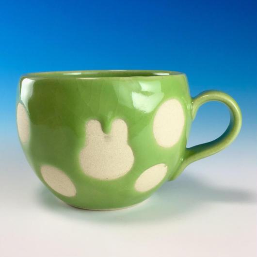 【M157】うさぎ水玉模様の丸マグカップ小(アップルグリーン・うさぎ印)