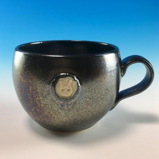 【M154】エンブレムマグカップ小(銀彩釉・うさぎ印)
