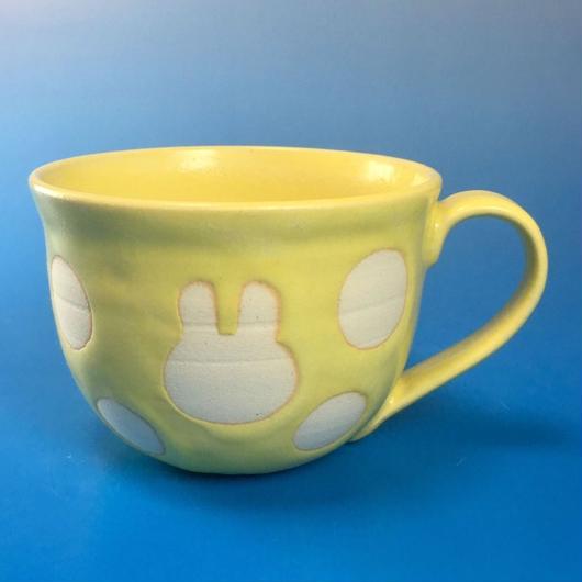【M044】広口のうさぎ水玉模様のマグカップ大(イエロー・うさぎ印)