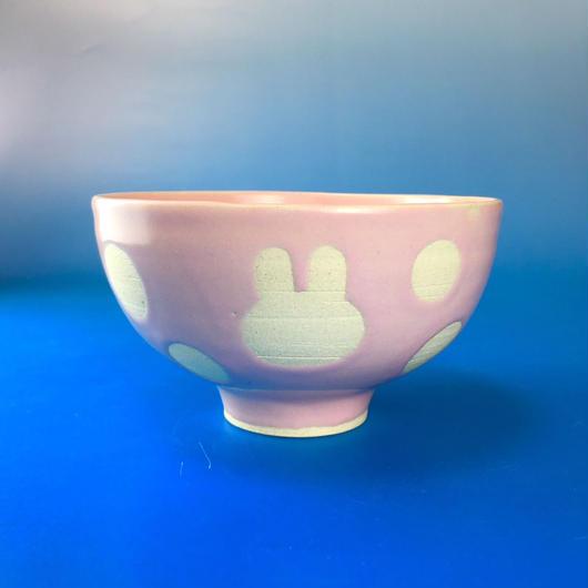 【G017】うさぎ水玉模様のご飯茶碗(マカロンピンク・うさぎ印)