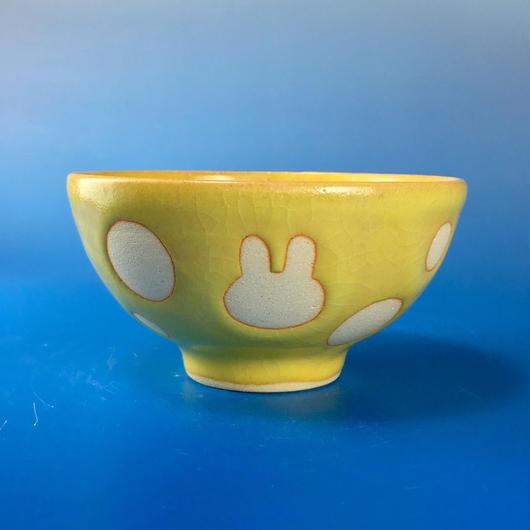 【G045】うさぎ水玉模様のご飯茶碗ミニ(イエロー・うさぎ印)