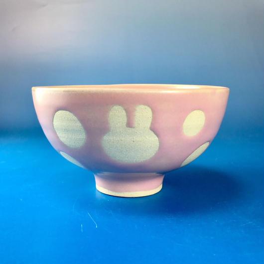 【G018】うさぎ水玉模様のご飯茶碗(マカロンピンク・うさぎ印)