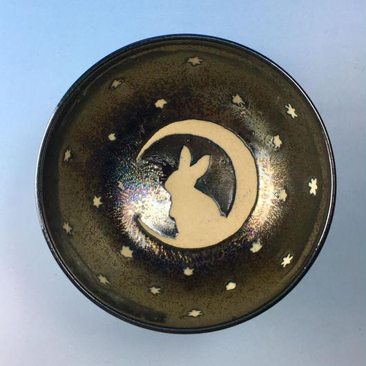 【G054】月夜のうさぎ柄のご飯茶碗ミニ(銀彩釉・手描き)