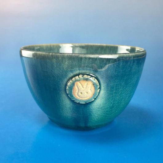 【Y020】海の色の湯呑み茶碗(うさぎ印)