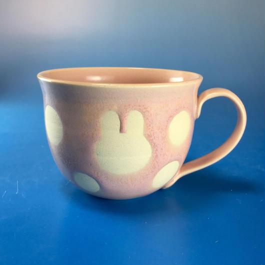 【M067】広口のうさぎ水玉模様のマグカップ大(桜花ピンク・うさぎ印)
