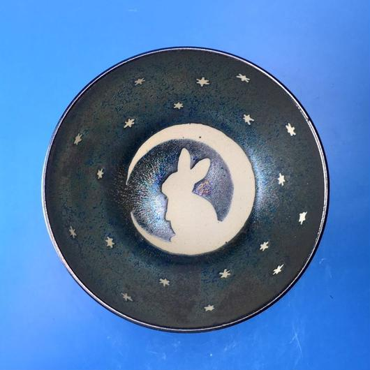 【G038】月夜のうさぎ柄のご飯茶碗(銀彩釉・手描き)
