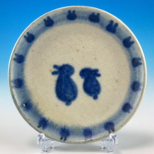 【S026】豆皿(呉須手描き・うさぎ印)